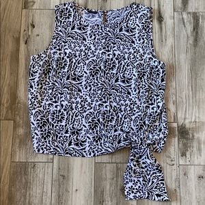 Talbots Black & White Sleeveless Blouse Side Tie